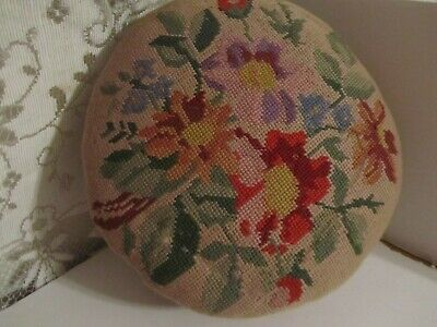 Vintage Tapestry Ladies Foot Stool. Made In England Wood With Pocelain Knobs