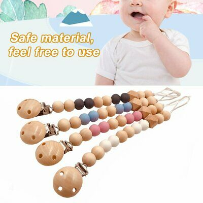 Baby Infants Nipple Holder Chewing Toy Clip Wooden Chain Soother Beads QC