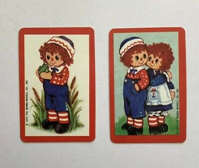 Miniature Vintage Raggedy Ann And Andy Playing Swap Card Pair 1974 Illustration