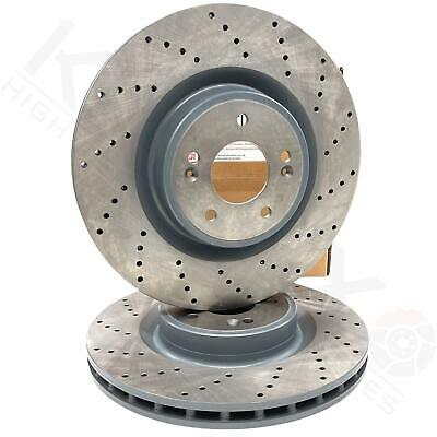 FOR KIA STINGER 2017- FRONT PERFORMANCE CROSS DRILLED BRAKE DISCS PAIR 350mm