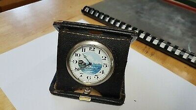 Unusual Waltham Leather Cased Pocket / Travel Watch with Nice Ocean Scene Dial