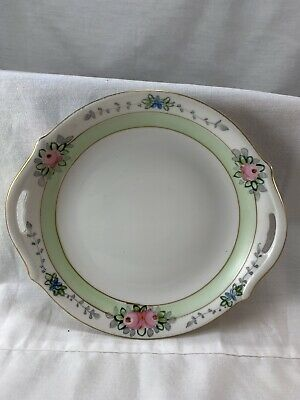 "Hand Painted Nippon Dessert  6"" Plate With Handles"