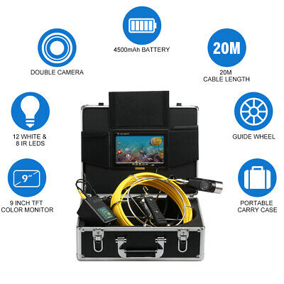 """9"""" LCD Pipe Inspection Camera IP68 Drain Sewer 20M HD Pipeline Endoscope Camera"""