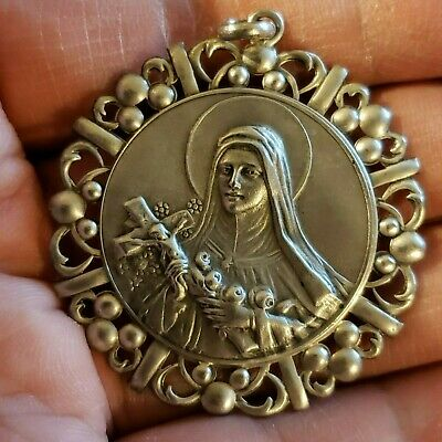Rare Vintage  Silver 900 St Therese  of the Child Jesus  Medal Sterling Quality