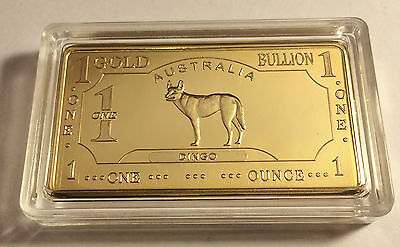"Awesome ""AUSTRALIAN DINGO"" 1 Troy Oz Ingot Finished in 999 24k Gold a"