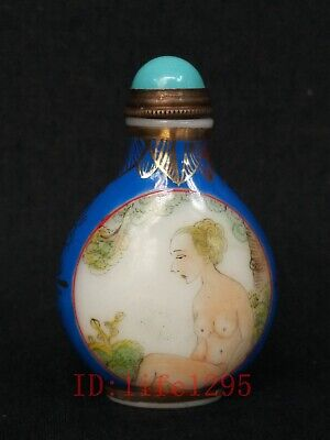 Superb Collecting Old China Glass Painting Flowers Women Snuff Bottle Decoration