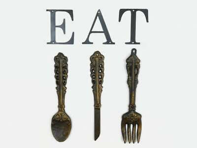 Kitchen Wall Decor Cast Iron Fork Spoon Knife EAT sign Rustic Farmhouse Utensils