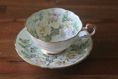 Paragon Cabbage Rose garland Tea cup Teacup saucer Mint Green Gold Yellow white