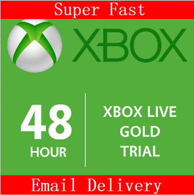 XBOX LIVE 2 Day 48 Hrs GOLD Trial Membership Digital Code Card Xbox One Xbox 360