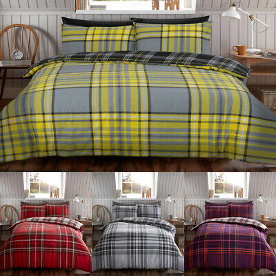 Tartan Duvet Cover Set Cases Single Double King Check Bedding Set Quilt Cover