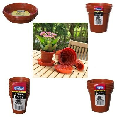 "Plastic Plant Pot Saucers Range Sizes 3"" To 15"" Terracotta Color Water Drip Tray"