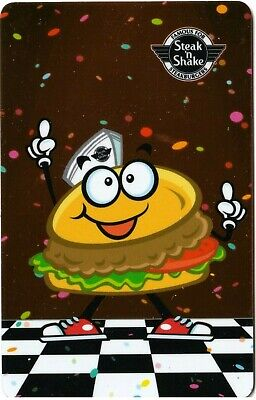 Steak N Shake Sizzle the Hamburger Dancing Red Foiled Background Gift Card