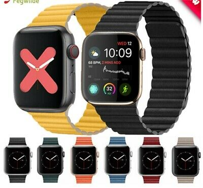 Strap For Apple Watch Band 44mm 40mm Genuine Leather Loop Band Magnetic Bracelet