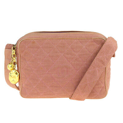 Auth CHANEL CC Logo Quilted Shoulder Bag Canvas Leather Pink Beige Italy 35BK207