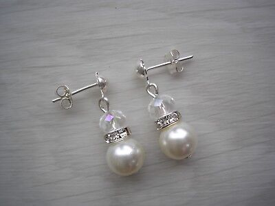 Ladies & Girls Pearl & Diamante Stud Drop Earrings fro bridesmaids gift for 55C