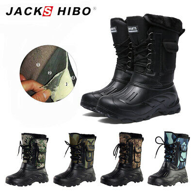 Mens Winter Snow Boots Warm Waterproof Anti-Slip Outdoor Hiking Ankle Boots