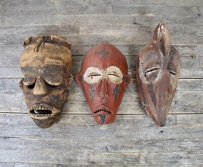 Three Antique 19th Century West African Tribal Masks To Include Dan Style Piece.