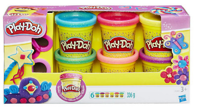 Hasbro Sparkle Play Doh 6 Pack - A5417 Classic Mold Art Learning Toy Fun Dough