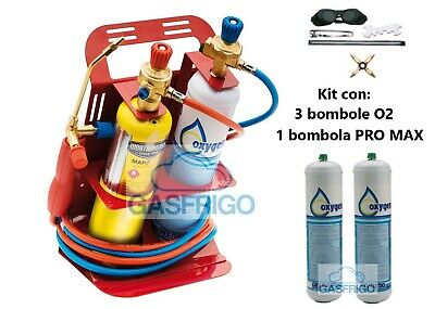 Kit Cannello Saldatura Turbo Set 110 N. 3 Ossigeno 1 Pro Max - Barrette Incluse