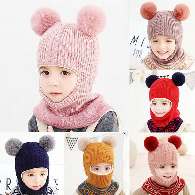 Kids Winter Warm Hat Scarf Baby Girls Boys Fleece Earflap Hood Skull Caps Pompom