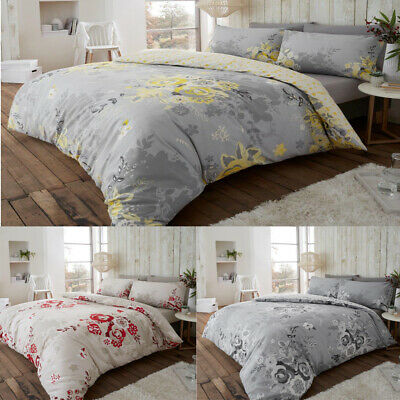 Floral Duvet Cover Set Double King Size 100% Brushed Cotton Bedding Quilt Cover