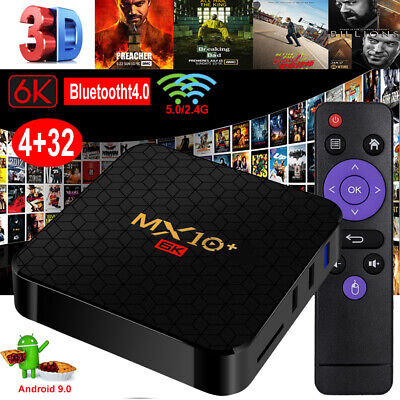 2019 MX10+ 6K 4+32G Android 9.0 2.4/5G WIFI BT TV BOX Quad Core 3D Media Player