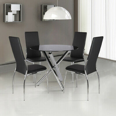 Round/Rectangle Dining Table Glass Top Chrome Legs With 2/4/6 Chairs ZH0239401EM