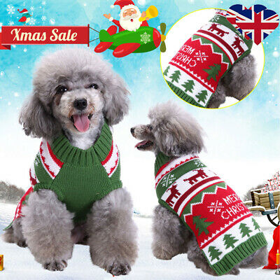 Christmas Pet Dog Puppy Costume Warm Knitted Sweater Xmas Jumper Clothes Apparel