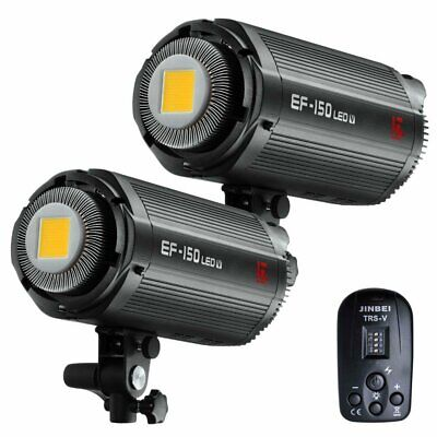 2X Jinbei EF-150V 5600K Studio LED Video Light Bowens Mount w/ TRS-V Transmitter