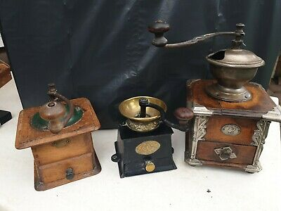 Set of 3 Vintage antique cast iron and  Wooden  Coffee Grinders.