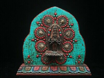 Collection Old China Tibet Wood Inlaid Turquoise Coral Avalokitesvara Decoration