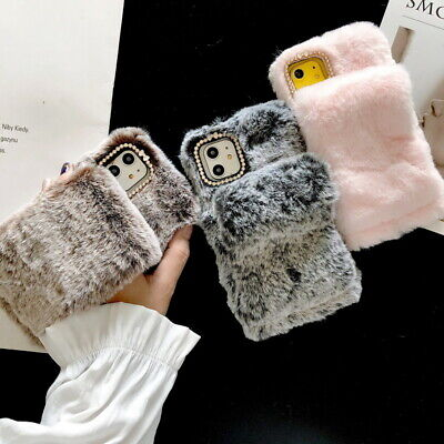 Luxury Fluffy Soft Warm Gloves Case Cover For iPhone 11 Pro Max XS XR 7 8 Plus