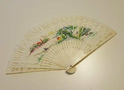 Antique Hand Painted Fan with Presentation Box Display Case