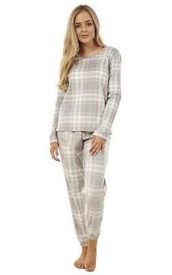 Ladies Check PJ'S Winter Warm Fleece Printed Womens Warm Pyjama Set