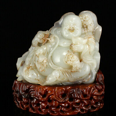 """7"""" China Natural carved old antique hetian jade Yuanbao Children Buddha statue"""