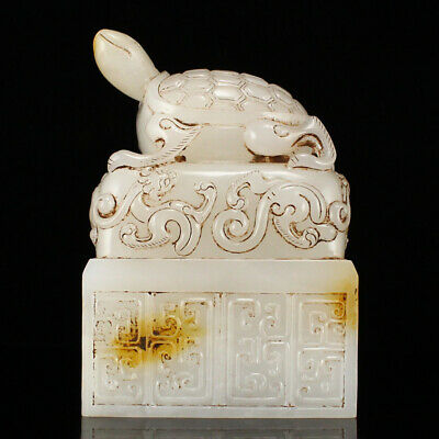 """4"""" China 100% Natural handcarved old antique hetian jade turtle statue seal"""