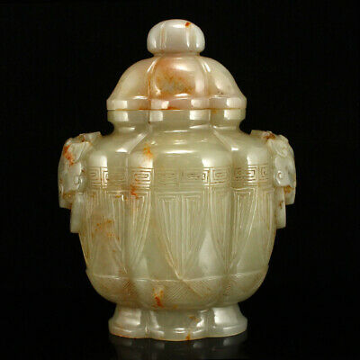 """6"""" China Natural handcarved old antique hetian jade double Beast face ear vase"""