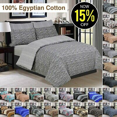 Cotton Quilt Duvet Cover Set Bedding With Sheet & Pillowcases Double King Size