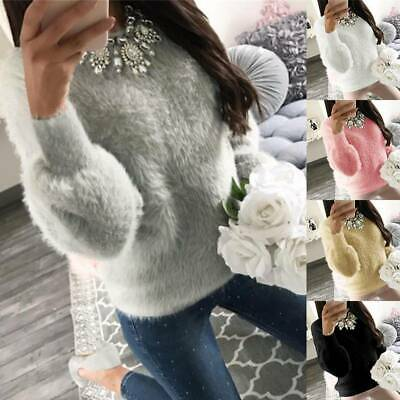 Women's Fluffy Sweater Jumper Ladies Long Sleeve Sweatshirt Pullover Tops Blouse