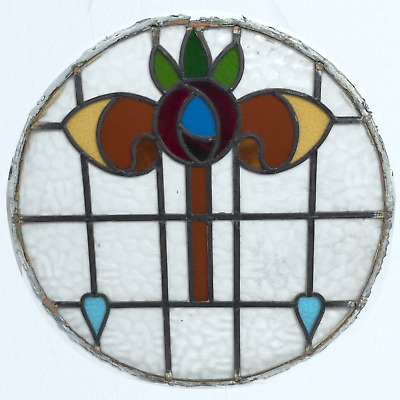 Vintage Circular Leaded Multi Coloured Stained Glass Door Pane