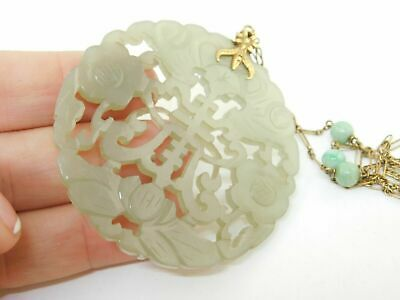 "CHINESE ANTIQUE 14K GOLD CARVED JADE ORNATE PENDANT DISC 19.0 g 2.25"" w. symbols"