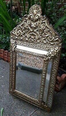 Antique 19th Century French Brass Repousse Cushion Mirror 67 x 37 cms