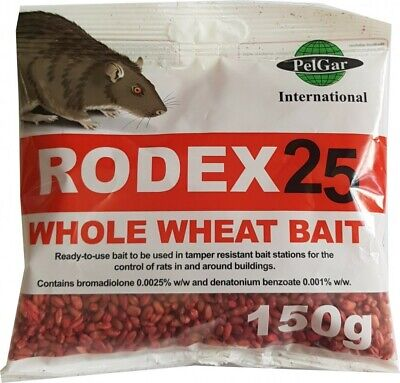 Rat and Mouse Killer Poison Whole Wheat Grain Rodex25 150g- Strongest Rat Poison