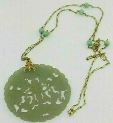 "CHINESE ANTIQUE 14K NECKLACE CARVED JADE  PENDANT DISC 19.0 g 2.25"" w. symbols"