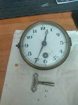 LFS Small 4 Inch German Antique? Clock Mechanism With Glass