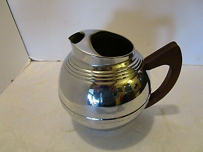 "Art Deco Chrome Ball Pitcher Teak Handle ice lip Metal 7"" tall Danish Modern Vtg"