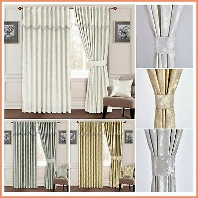 Curtains Jacquard Glitter Design Ready Made  Pelmet Attached With Free Tiebacks