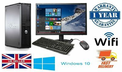 Fast Cheap Full Dell/Hp Dual Core Desktop Tower Pc&Tft Computer System Win 10