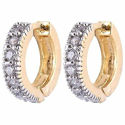 Indian Real Luk CZ AD Stone Two Tone Silver Plated Hoop Round Bali Hot Earrings