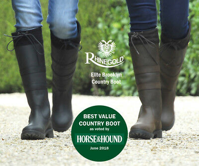 SALE Rhinegold  Brooklyn Waxy Black Leather Stable Yard & Country Boots